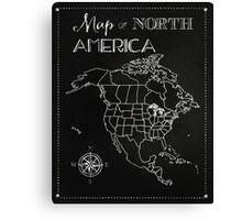 Map of North America chalkboard art, travel, black, white Canvas Print