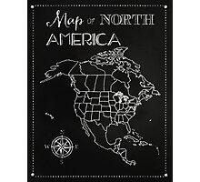 Map of North America chalkboard art, travel, black, white Photographic Print