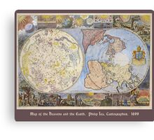 Map of the Heavens and the Earth 1699 Canvas Print