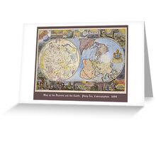 Map of the Heavens and the Earth 1699 Greeting Card