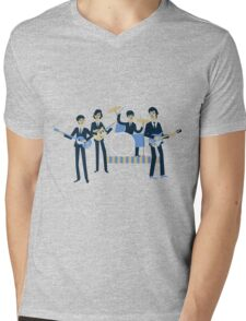 Sixties Style rock band playing music. Mens V-Neck T-Shirt