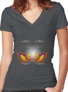 Happy Diwali Women's Fitted V-Neck T-Shirt