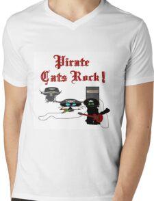 Pirate Cats Rock Mens V-Neck T-Shirt