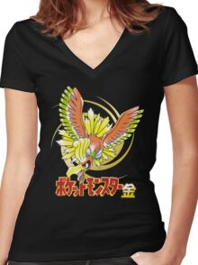 Pocket Monsters: Gold Women's Fitted V-Neck T-Shirt