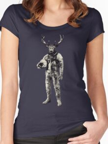 Psychedelic Deer Astronaut (Vintage Effect) Women's Fitted Scoop T-Shirt