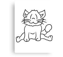 seated sweet cute kitten fluffy fur Canvas Print