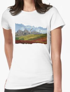 Landscape With Seagull-Oil Paint Effect PNG Womens Fitted T-Shirt