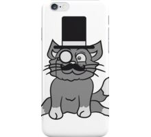 sir mr mustache monocle glasses cylinder hat gentlemen seated sweet cute kitten fluffy fur iPhone Case/Skin