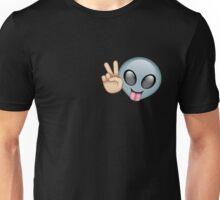 Alien Emoji Peace Pattern Outline  Unisex T-Shirt