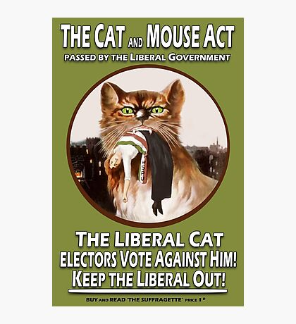 Vintage British Suffragette Cat and Mouse Act  Photographic Print