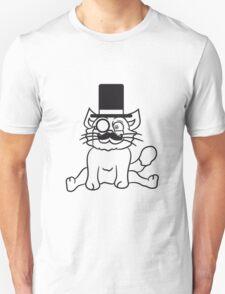 sir mr mustache monocle glasses cylinder hat gentlemen seated sweet cute kitten fluffy fur T-Shirt