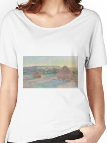 Claude Monet - Stacks of Wheat (End of Summer) (1890-91) Women's Relaxed Fit T-Shirt