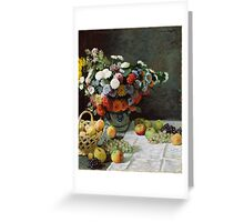 Claude Monet - Still Life with Flowers and Fruit (1869) Greeting Card
