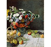 Claude Monet - Still Life with Flowers and Fruit (1869) Photographic Print