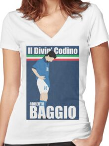 Roberto Baggio Women's Fitted V-Neck T-Shirt