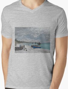 Claude Monet - The Beach at Sainte-Adresse (1867) Mens V-Neck T-Shirt