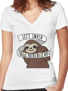 """Feminist Sloth """"Smash the Patriarchy"""" Women's Fitted V-Neck T-Shirt"""