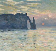 Claude Monet - The Cliff, Étretat,  Sunset by famousartworks