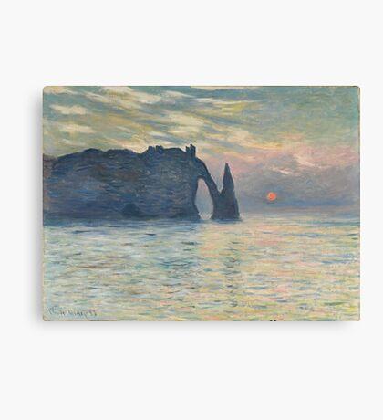Claude Monet - The Cliff, Étretat,  Sunset  Impressionism Canvas Print