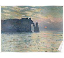 Claude Monet - The Cliff, Étretat,  Sunset  Impressionism Poster