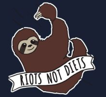 "Feminist Sloth ""Riots Not Diets"" Anti-Diet Sloth Baby Tee"