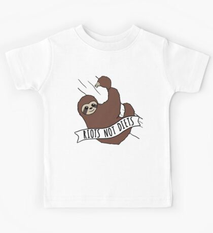 "Feminist Sloth ""Riots Not Diets"" Anti-Diet Sloth Kids Tee"