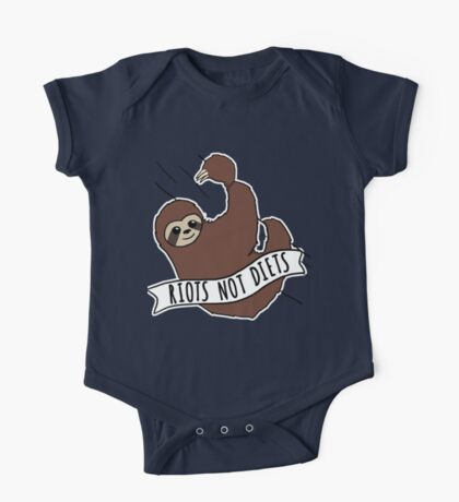 "Feminist Sloth ""Riots Not Diets"" Anti-Diet Sloth One Piece - Short Sleeve"