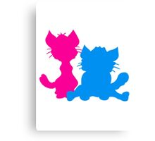 silhouette black outline silhouette sitting sweet cute cat team some 2 friends love Canvas Print