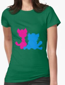 silhouette black outline silhouette sitting sweet cute cat team some 2 friends love T-Shirt