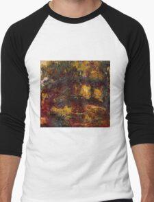 Claude Monet - The Japanese Footbridge  Giverny ,Impressionism Men's Baseball ¾ T-Shirt