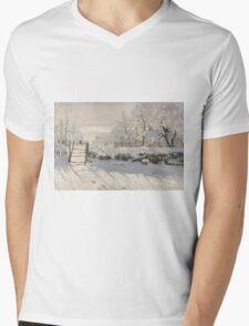 Claude Monet - The Magpie  Impressionism Mens V-Neck T-Shirt