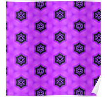 Pattern 66: Purple background with black stars Poster
