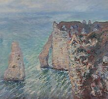 Claude Monet - The Rock Needle and the Porte d'Aval (1886) by famousartworks