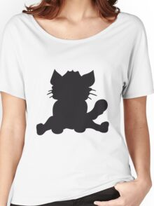 silhouette black outline silhouette sitting sweet cute kitten fluffy fur Women's Relaxed Fit T-Shirt