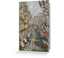 Claude Monet - The Rue Montorgueil in Paris. Impressionism Greeting Card
