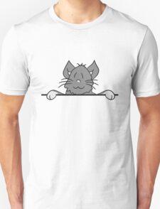 sign text umrandung frame wall hiding sweet cute kitten fluffy fur T-Shirt