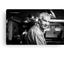 Portrait of a blurred old man Canvas Print