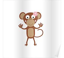 female monkey with flower  Poster