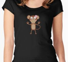female monkey with flower  Women's Fitted Scoop T-Shirt