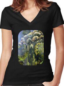Tarairi Forest Morning Women's Fitted V-Neck T-Shirt
