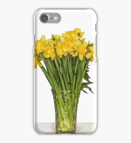 Yellow narcissus in vase iPhone Case/Skin