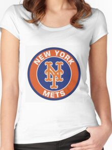 New York Mets logo Women's Fitted Scoop T-Shirt