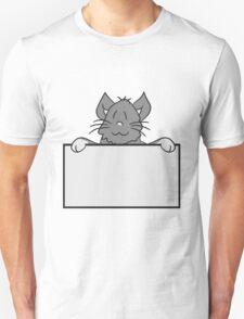 empty face shield text umrandung frame wall hiding sweet cute kitten fluffy fur T-Shirt