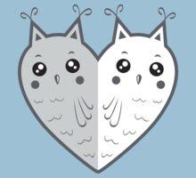 Cute owl-heart One Piece - Short Sleeve