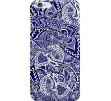 Modern navy blue indigo floral hand drawn pattern iPhone Case/Skin
