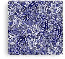 Modern navy blue indigo floral hand drawn pattern Canvas Print