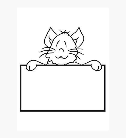 empty face shield text umrandung frame wall hiding sweet cute kitten fluffy fur Photographic Print
