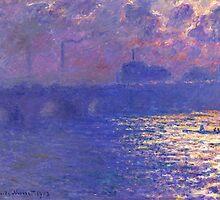 Claude Monet - Waterloo Bridge.  Sunlight Effect by famousartworks
