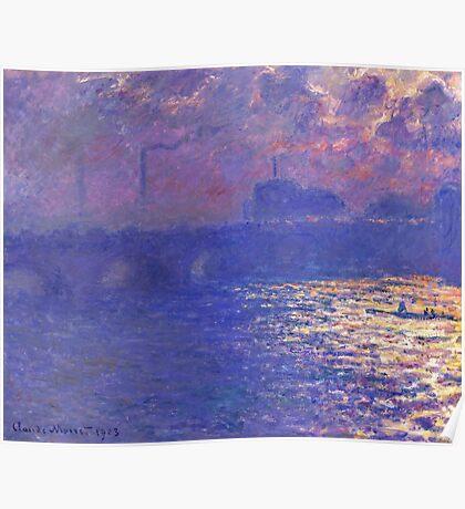 Claude Monet - Waterloo Bridge.  Sunlight Effect , Impressionism Poster