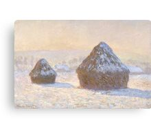 Claude Monet - Wheatstacks  Snow Effect  Morning (Meules  Effet de Neige  Le Matin) Canvas Print